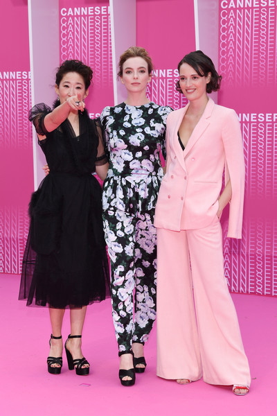More Pics of Sandra Oh Messy Updo (1 of 6) - Updos Lookbook - StyleBistro [killing eve,pink,fashion,event,dress,haute couture,flooring,red carpet,carpet,fashion design,formal wear,pink carpet arrivals,phoebe waller-bridge,sandra oh,jodie comer,when heroes fly,l-r,serie,1st cannes international series festival,palais des festivals]