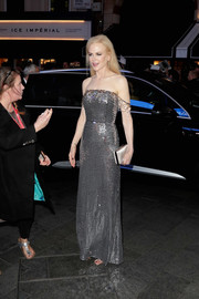 Nicole Kidman was an absolute stunner sporting this ivory satin box clutch and silver sequin dress combo at the UK premiere of 'The Killing of a Sacred Deer.'