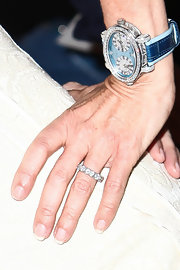 Ramona Singer wore a chronograph watch with a blue face and diamonds during New York Fashion Week.