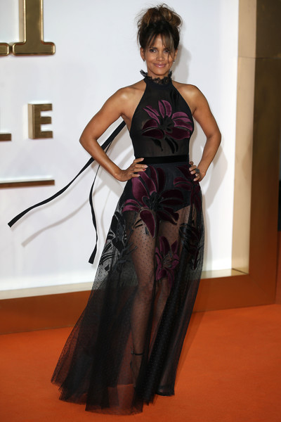 Halle Berry showed off her ageless physique in a sheer halter gown by Elie Saab at the world premiere of 'Kingsman: The Golden Circle.'