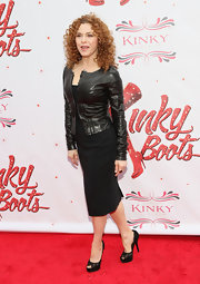 Bernadette Peters added some edge to her LBD with this black leather jacket.