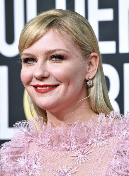 Kirsten Dunst Long Straight Cut with Bangs [hair,blond,hairstyle,face,eyebrow,lip,chin,beauty,eyelash,long hair,arrivals,kirsten dunst,the beverly hilton hotel,beverly hills,california,golden globe awards,kirsten dunst,golden globe awards,the beverly hilton,photograph,image,rodarte,2019,livingly media,2020,celebmafia]