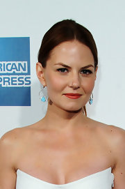 Jennifer Morrison wore a muted orange red lipstick while attending the premiere of 'Knife Fight.'