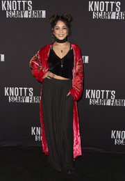 Vanessa Hudgens was boudour-chic in a velvet cami and wide-leg pants at the Knott's Scary Farm Black Carpet Party.