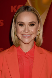 Becca Tobin looked casual-chic with her center-parted bob at the 'New Gifts at Every Turn' pop-up event.