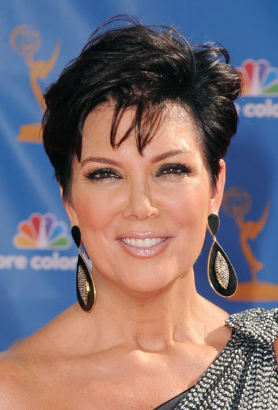 Kris Jenner Messy Cut [hair,face,hairstyle,eyebrow,chin,beauty,forehead,black hair,smile,lip,arrivals,kris jenner,primetime emmy awards,california,los angeles,nokia theatre l.a. live,annual primetime emmy awards]