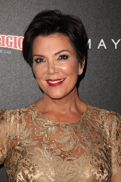 Kris Jenner Short Side Part [hair,hairstyle,eyebrow,lip,beauty,chin,smile,premiere,dress,brown hair,kris jenner attenda fashion,l-r,beverly center,california,los angeles,fashion,night out]