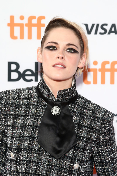 Kristen Stewart Short Side Part [seberg premiere,hair,lip,eyebrow,hairstyle,beauty,fashion,neck,fashion accessory,premiere,magazine,kristen stewart,toronto,canada,ryerson theatre,toronto international film festival,premiere]