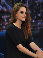 Kristen showed off her edgy rockstar layers on 'Late Night With Jimmy Fallon.'