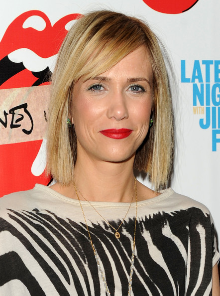 Kristen Wiig Side Parted Straight Cut [the rolling stones,exile on main st,album,hair,face,blond,hairstyle,lip,eyebrow,beauty,layered hair,bob cut,long hair,kristen wiig,new york city,the museum of modern art,re-release,re-release]
