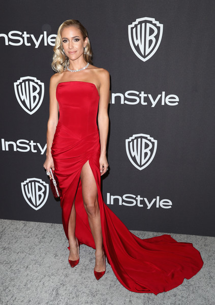 Kristin Cavallari Pumps [dress,clothing,fashion model,shoulder,strapless dress,red carpet,carpet,red,fashion,gown,kristin cavallari,beverly hills,california,the beverly hilton hotel,instyle,golden globes,warner bros.,arrivals,party]