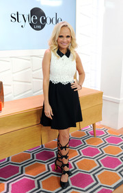 Kristin Chenoweth looked adorable in a black-and-white lace-bodice dress during her appearance on Amazon's 'Style Code Live.'