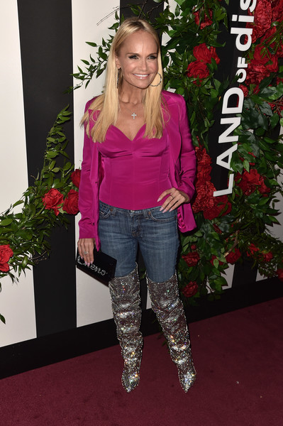 Kristin Chenoweth Over the Knee Boots [clothing,carpet,footwear,pink,outerwear,fashion,red carpet,knee-high boot,jeans,leg,land,land,chateau marmont,los angeles,california,red carpet,distraction launch event,kristin chenoweth]