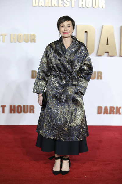 Kristin Scott Thomas Pumps [darkest hour,carpet,red carpet,clothing,premiere,fashion,flooring,outerwear,public event,fashion design,event,red carpet arrivals,kristin scott thomas,darkest hour,uk,england,london,odeon leicester square,premiere,premeire]