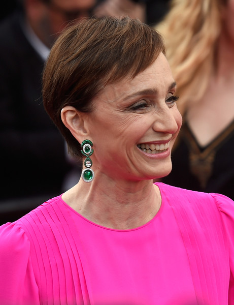 Kristin Scott Thomas Pixie [the killing of a sacred deer,hair,hairstyle,pink,blond,ear,beauty,chin,eyebrow,premiere,smile,kristin scott-thomas,screening,cannes,france,red carpet arrivals,cannes film festival,palais des festivals]