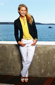 Dressed to perfection in sleek white chinos, Kristy looked polished and ready for a day at the yacht club.