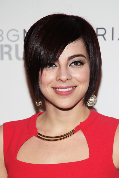 Krysta Rodriguez Short Scene Cut [photo,hair,face,hairstyle,eyebrow,chin,beauty,bob cut,shoulder,lip,bangs,krysta rodriguez,astrid stawiarz,bcbgmaxazria - backstage,lincoln center,the theatre,bcbgmaxazria,getty images,mercedes-benz fashion week,fashion show]
