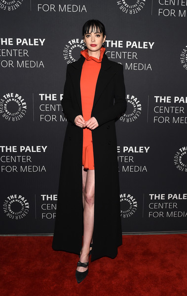 Krysten Ritter Duster [clothing,red carpet,carpet,premiere,formal wear,fashion,suit,flooring,dress,outerwear,paley center for media presents: an evening with jessica jones,the paley center for media presents: an evening with jessica jones,new york city,the paley center for media,krysten ritter]
