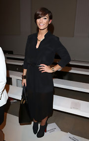 Frankie Sandfor chose this flowing, belted LBD for her super-sophisticated fashion-week look.
