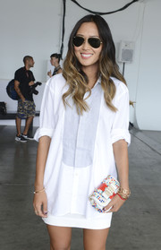 Aimee Song arrived for the Kye fashion show looking cool in her Ray-Ban aviators.