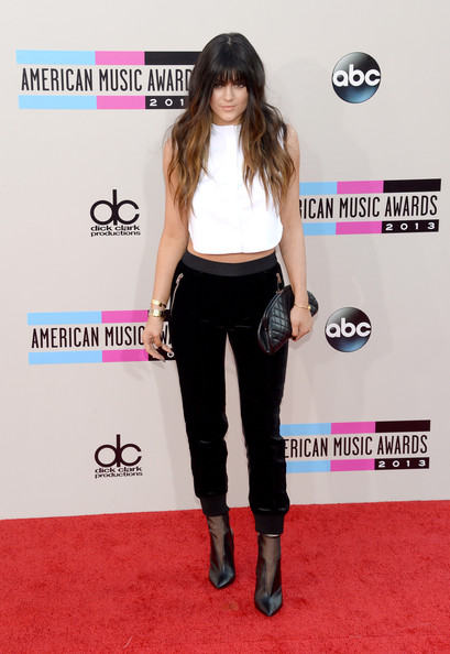 Kylie Jenner Ankle Boots [clothing,carpet,red carpet,fashion,waist,leg,footwear,flooring,long hair,trousers,arrivals,kylie jenner,american music awards,nokia theatre l.a. live,los angeles,california]