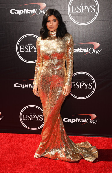 Kylie Jenner Sequin Dress [flooring,carpet,fashion model,red carpet,shoulder,fashion,gown,long hair,fashion design,haute couture,arrivals,kylie jenner,microsoft theater,los angeles,california,espys,kylie jenner,2015 espy awards,2016 espy awards,caitlyn jenner,espy award,microsoft theater,the 2015 espys,athlete,celebrity,arthur ashe courage award]