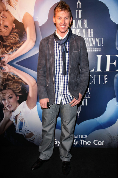 Brett Lee sported a change from his standard spiked hair to a Fauxhauk at Kylie Minogue's Warner Music Party in Sydney.