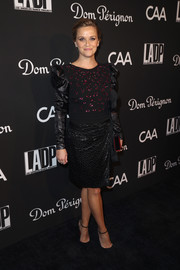 Reese Witherspoon channeled the '80s in a black Dundas dress with a beaded bodice and Juliet sleeves at the L.A. Dance Project Gala.