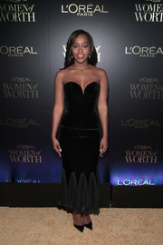 Aja Naomi King was a classic beauty in a strapless, sweetheart-neckline velvet dress by Winonah at the L'Oreal Women of Worth celebration.