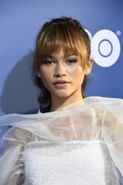 Zendaya Coleman looked youthful and sweet wearing this ponytail with rounded bangs at the LA premiere of 'Euphoria.'