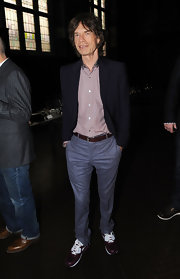 Plum leather sneaks gave Mick Jagger's outfit an injection of urban-cool.
