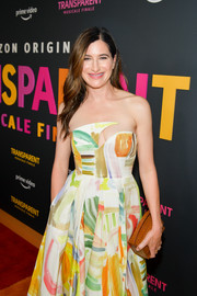 Kathryn Hahn arrived for the LA premiere of 'Transparent: Musicale Finale' carrying a brown croc-embossed clutch.