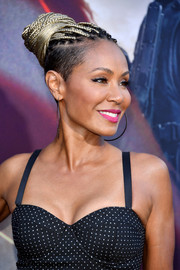 Jada Pinkett Smith styled her hair into a cool braided bun for the LA premiere of 'Angel Has Fallen.'