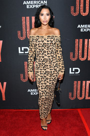 Naya Rivera looked sassy in an off-the-shoulder leopard-print maxi dress at the LA premiere of 'Judy.'
