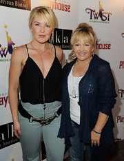 Charlene Tilton attended the premiere of 'Twist - An American Musical' in a casual jeans and tank top ensemble topped with a blue knit cardigan.