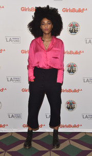 Jessica Williams embraced the pajama trend with this hot-pink number at the Girls Build Leadership Summit.