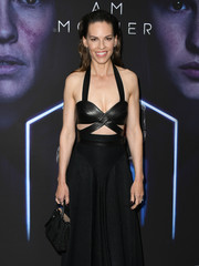 Hilary Swank attended the LA special screening of 'I Am Mother' carrying a chic black leather purse by Azzedine Alaïa.