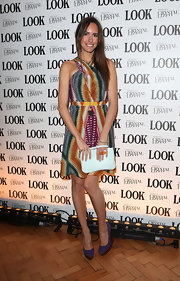 Louise Roe was darling in a print dress paired with purple wedges.