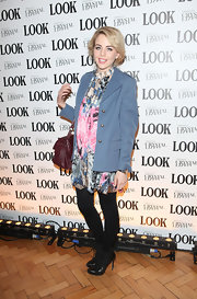 Lydia Bright wore this colorful silk dress over tights for Look magazine's 5th birthday party.