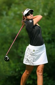 Paula Creamer wore this embellished sporty skirt to the Locust Hill Country Club.