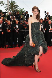 Julia looked breathtaking at Cannes in a gathered forest dress with a dramatic fishtail train.