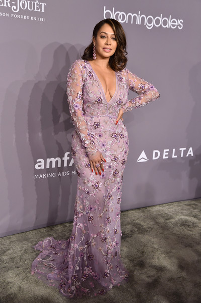 La La Anthony Beaded Dress [clothing,dress,shoulder,fashion model,premiere,purple,fashion,neck,gown,long hair,arrivals,la la anthony,new york,cipriani wall street,amfar gala]