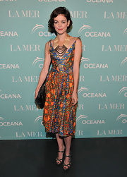 Nora looked sweet in a spring floral print dress for the La Mer Oceans Day Celebration.