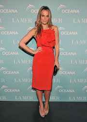Molly was red hot at the Ocean Celebration in a red cocktail dress with a gathered bodice.