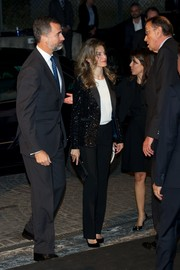 Princess Letizia sparkled in a black sequined blazer during the La Razon newspaper anniversary party.
