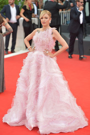 Eleonora Carisi was Barbie-glam in a flouncy pink one-shoulder gown by Valdrin Sahiti at the 2019 Venice Film Festival opening ceremony.