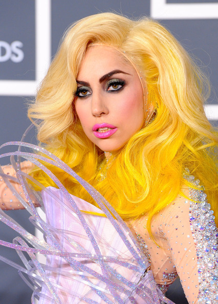 Musician Lady Gaga arrives at the 52nd Annual GRAMMY Awards held at Staples