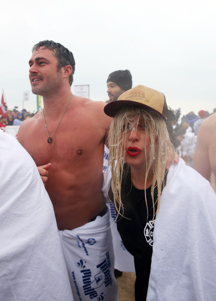 Lady Gaga Trucker Hats [barechested,white,chest,muscle,fun,event,crowd,vacation,tourism,flesh,chicago,illinois,north avenue beach,chicago polar plunge,taylor kinney,lady gaga]