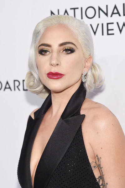 Lady Gaga Berry Lipstick [hair,face,lip,blond,hairstyle,eyebrow,chin,beauty,skin,shoulder,arrivals,lady gaga,new york city,cipriani 42nd street,the national board of review annual awards gala,national board of review annual awards gala]