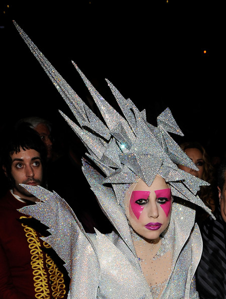 Lady Gaga Stage Makeup [mask,masque,headgear,costume,event,performance art,performing arts,performance,carnival,heater,lady gaga,backstage,staples center,los angeles,california,52nd annual grammy awards]